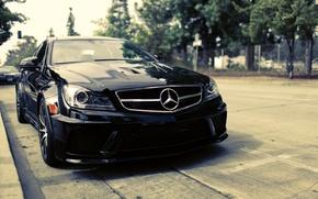 Обои Mercedes-Benz, C-Klasse, C204, C 63, улица, чёрный, мерседес бенц, black