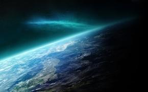 Картинка космос, сияние, планета