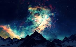 Картинка light, sky, night, view, mountain, dawn