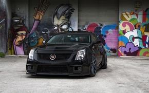 Картинка чёрный, Cadillac, перед, графити, black, CTS-V, кадилак
