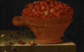 Картинка ягоды, картина, натюрморт, Адриан Коорт, Тарелка Клубники на Каменном Постаменте