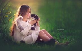 Картинка кошки, настроение, девочка