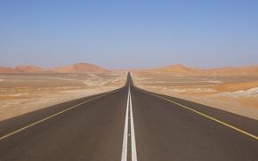 Картинка дорога, холмы, пустыня, шоссе