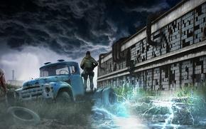 Обои Сталкер, Аномалия, Постапокалипсис, Чернобыль, Зона, STALKER, Игра, Арт, Сталкеры, Тень Чернобыля