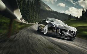 Картинка Jaguar, Car, Speed, Black, Sport, Road, Photography, Forest, F-Type S
