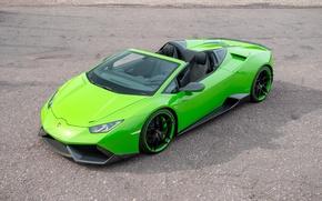 Обои car, зеленый, green, Lamborghini, ламбо, автомобиль, Spyder, передок, Novitec, Torado, Huracan