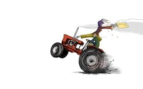 Картинка машина, девушка, оружие, люди, погоня, минимализм, аниме, трактор, белый фон, парень, перестрелка