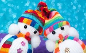 Картинка игрушки, снеговики, шапочки