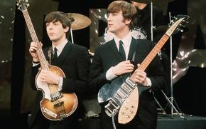 Обои The Beatles, John Lennon, рок, легенды, Beatles, музыка, Джон Леннон, Пол Маккартни