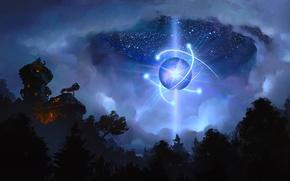 Картинка ночь, дом, планета, звёзды, арт, телескоп