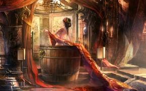 Картинка комната, узор, спина, свечи, купание, Азиатка, татуировка, ткань, ступени, шторы, бочка