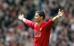 Обои футбол, звезда, Cristiano Ronaldo, знаменитость, футболист, Роналду, Манчестер юнайтед, празднование, Manchester United, Криштиану Роналду, Ronaldo