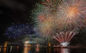 Картинка ночь, мост, огни, Австралия, Sydney, феерверк, Харбор-Бридж, 2015