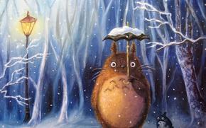 Картинка зима, снег, зонт, аниме, арт, фонарь, мой сосед тоторо, totoro, My Neighbor Totoro, villasukka, chibi …