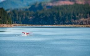 Картинка mountains, lake, bokeh, plane, floatplane