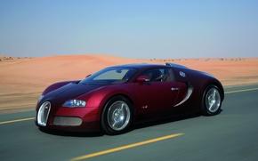 Картинка дорога, песок, авто, пустыня, Bugatti Veyron, sport car, скорость.