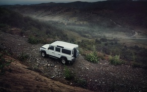 Картинка Light, Land Rover, Front, 4x4, Defender, SUV, Jeep, Wheels, Mountain Road