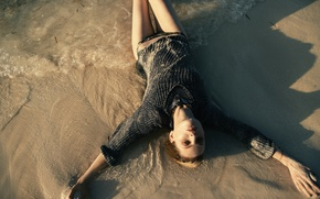 Картинка вода, девушка, модель, песок