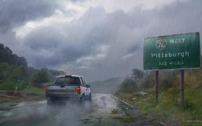 Картинка дорога, машина, дождь, арт, The Last of Us