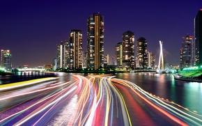 Картинка свет, дома, город, Япония, выдержка, огни, вечер, каналы, ночь, токио