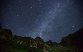 Картинка космос, звезды, горы, ночь