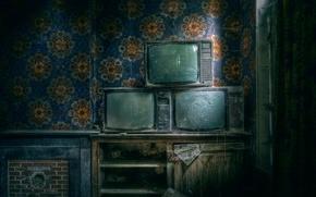 Картинка комната, пыль, телевизоры
