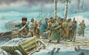 Картинка зима, рисунок, Россия, отступление, войск, французких, Отечественная война 1812 года