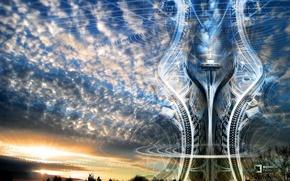 Обои башня, линии, облака