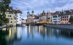 Картинка мост, река, здания, дома, Швейцария, церковь, набережная, Switzerland, Люцерн, Lucerne, Reuss River, река Ройсс