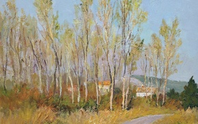 Картинка деревья, пейзаж, горы, дома, картина, Марсель Диф, Countryside in Provence
