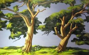 Картинка лето, деревья, картина, арт, живопись, гармония, painting, природы.