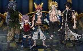 Картинка anime, art, fairy tail, Natsu Dragneel, Gajeel Redfox, Wendy Marvell, Rogue Cheney, Sting Eucliffe
