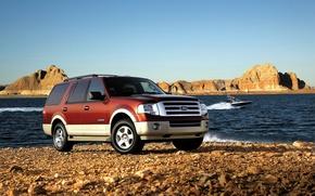 Картинка море, Ford, Машина, катер, внедорожник, путешествие, природа., Expedition