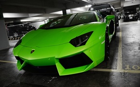 Картинка car, зеленый, green, Lamborghini, LP700-4, Aventador, ламборгини, авентадор