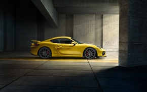 Картинка Porsche, Cayman, Yellow, Side, Parking, Supercar, GT4, 2015