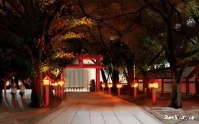 Картинка дорога, деревья, ворота, Япония, фонари, храм, art, Shuizhanglang