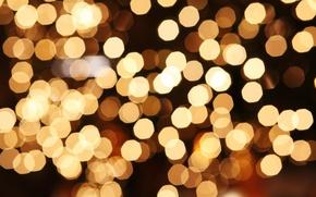 Картинка макро, свет, огни, желтые, праздники, боке