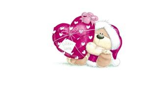 Картинка зима, снег, подарок, сердце, арт, мишка, Новый год, детская, праздик