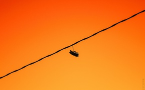 Картинка sunset, shoes, wire