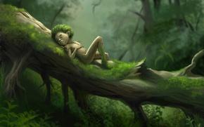 Картинка лес, трава, дерево, отдых, мох, арт, человечек