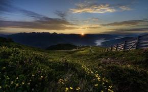 Картинка цветы, солнце, забор, рассвет, горы