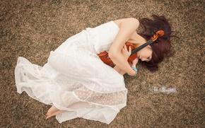 Картинка девушка, поза, музыка, скрипка