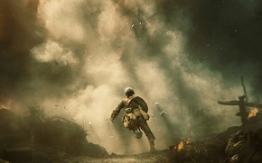 Обои огонь, драма, Вторая Мировая, бежит, Desmond T. Doss, солдат, По соображениям совести, Hacksaw Ridge, дым, ...