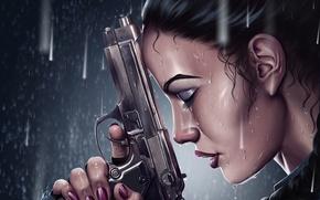 Картинка девушка, пистолет, дождь, lara croft, tomb raider