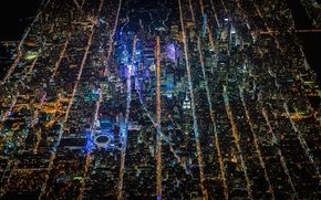 Обои Manhattan, America, New York, New York City, NYC, height, United States, lights, night, United States ...