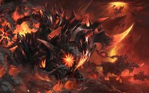 Картинка пламя, лава, всадник, dota 2, workshop, Chaos Knight, Burning Nightmare, раскалённая сталь