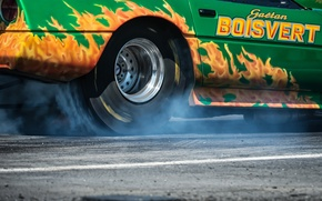 Картинка гонка, дым, колесо, Corvette, Chevrolet, мускул кар, drag racing