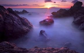 Картинка море, туман, сумерки, камни, закат