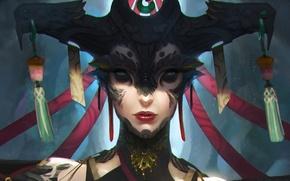 Обои взгляд, Tony Yin, арт, фантастика, женщина, существо
