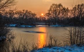 Картинка небо, вода, солнце, снег, деревья, Зима